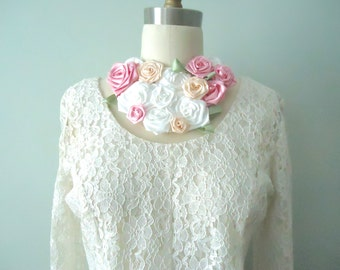 Flower Bib Wedding Necklace, Pink and White Bohemian Roses, Roses Neck Piece, Pink Lovers, FlowerBouquet Necklace, Shabby Chic Roses, Boho