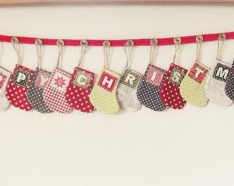 Christmas Stocking Garland Bunting - Happy Christmas - Ready to ship - Christmas decorations