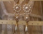 Pearl Wedding Jewelry Chandelier Vintage Bridal Clip on Pearl Earrings Chandelier Wedding Bridal Jewelry Bridal Rhinestone Pearl Earrings