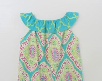 Handmade Boutique Ruffle Summer Pillowcase Dress size 5 Michael Miller Fabric