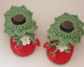 Baby Booties, Crochet Baby Booties, Newborn Red Shoes, Red Baby Shoes, Baby Girl Strawberry Booties, Red Walking Shoes, Valentine Baby Gift