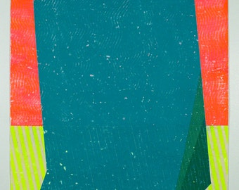 30x22 Geometric Abstract Painting, Neon, Blue & Green NY1422