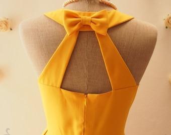 Flash Sale Yellow Dress, Audrey Hepburn Yellow Party Dress, Bright Mustard Dress, Backless Dress, Yellow Bridesmaid Wedding Summer Dress,...