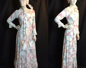 SALE - Vintage 70s Victorian Poppy Print Maxi Dress with Apron and Bandana D426