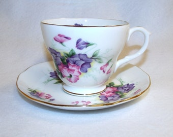 Sweet Pea Tea Cup and Saucer, Duchess Bone China
