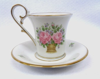 Demitasse Cup and Saucer, Kaiser West Germany, Marseille Pattern