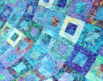 Batik Patchwork Quilt, Queen / King Size, Rockpool, Handmade by PingWynny