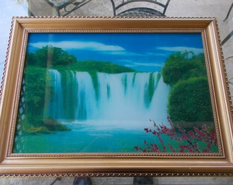 WATERFALL Motion and Light Wall Decor  -- Soothing Water falling and Birds Chirping  - Zen  -  Spiritual