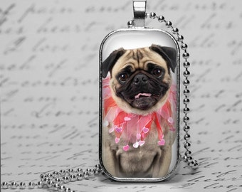 Valentine's Day Pug Necklace Ornament