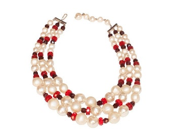 Pearl & Red Bead Necklace, Multi-Strand Choker