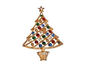 Eisenberg Ice Christmas Tree Pin, Multi-color Rhinestones, Gold Metal