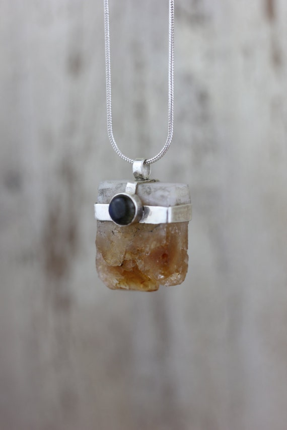 CITRINE & LABRADORITE NECKLACE- Raw Crystal Necklace- Citrine Jewellery- Success- Bohemian Necklace- Sterling Silver- Silver Jewelry- Chakra