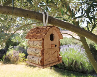 Small hanging birdhouse, Fess Parker corks, wine cork art