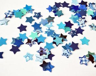Blue handpunched stars confetti