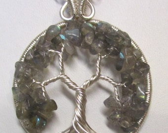 Tree of Life, Labradorite Wire Wrapped Tree of Life, Labradorite Pendant, Wire Wrapped Fluorite