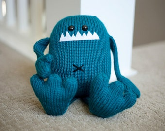 Hand Knit Stuffed Monster Plush Toy