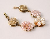 Blush Pink Assemblage Bracelet, Repuropsed Earring Bracelet, Bridesmaid Gift, Bridal Jewelry, Pearl Wedding Accessory, Vintage, Gold, Pearl