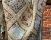 Beach House Throw Quilt. Gift for Her for the Home Handmade Quilted Blanket or Wall Hanging Shore Decor Seashore Hostess Gift