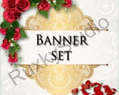 Shop Banner Set shop icon,new etsy cover/banner,avatar/profile picture -gold,lace,roses