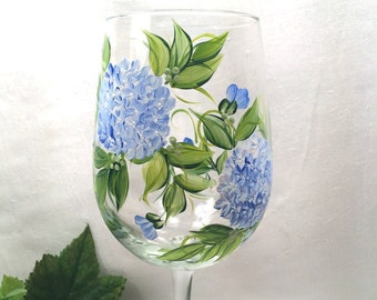 Blue Hydrangeas hand painted wine glass