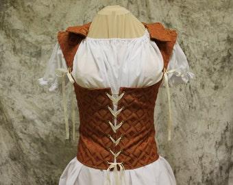 Rust Renaissance Costume-Halloween Costume-Medieval Bodice-LARP-Ren Fair-Steampunk-SCA-Adult Costume-Medieval Clothing-Fantasy-Item #218