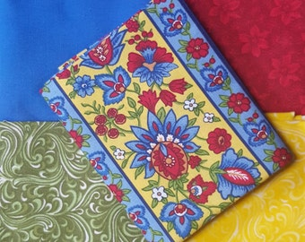Fat Quarter Bundle, Blue, Red and Yellow Floral Fabric, Floral Fabric, Red Floral Fabric, Green Floral Fabric, 5 FQ's