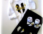 Baby Girl Black and Gold Monogrammed Personalized Complete Clothing Set, Newborn Girl Take Home Outfit, Coming Home Outfit,Girl Shower Gift