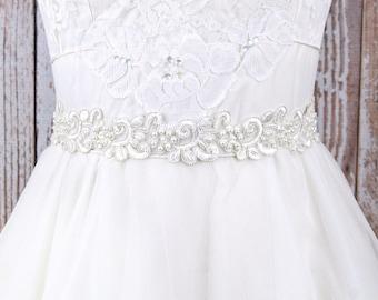 Off White Pearl Beaded Lace with French Grosgrain Ribbon Sash Belt, Bridal Pearl Sash, Bridesmaid Sash, White Lace Sash/ SH-86