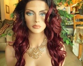 """SPRING SALE - Lace Front Natural Wavy Wig - Siren Red with Dark Roots - Lace Front & Capless Wig - """"Sophia"""" - Natural Beauty"""