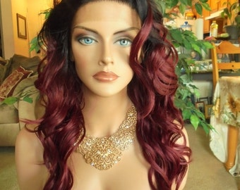 "SPRING SALE - Lace Front Natural Wavy Wig - Siren Red with Dark Roots - Lace Front & Capless Wig - ""Sophia"" - Natural Beauty"