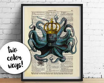 OCTOPUS King Kraken Print, Octopus Art Poster, Beach Nautical Home Decor, Antique Sealife Illustration, Pirates Dorm Decor Dictionary Art