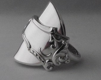 Stunning Unusual Handmade Antique Heavy Sterling Silver Spoon Ring dated 1905 Jewellery Unique Gift