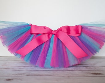 "Pink turquoise blue & purple Tutu ""Cort"" Newborn baby girls tutu cake smash birthday tutu 3 months 6 months 9 months 12 months 18 months"
