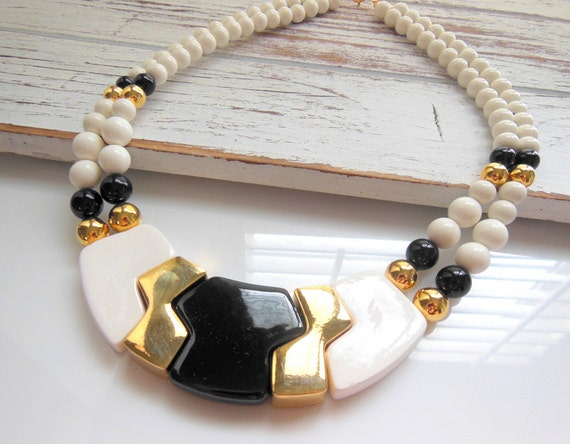 Vintage Japan Mod Chic Black Gold White Bead Geometric Glass Necklace WW16