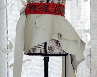 CLEARANCE , Ivory Leather Bustle , Hand Made Embroidery Beaded Belt , Ivory Leather Peplum , Leather Over Skirt , Bustle Belt Overskirt