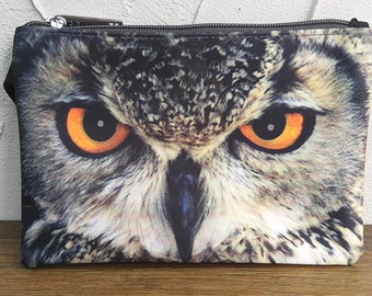 Owl pouch, owl purse, owl clutch, bird pouch, bird purse, bird clutch, owl lover pouch, owl makeup bag, POW-232