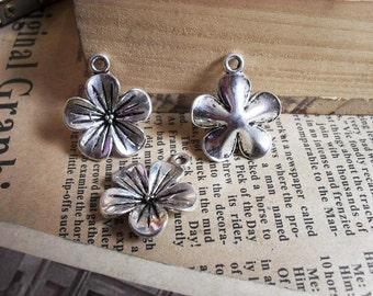 10pcs 20mm antique silver  flower charms pendant B229