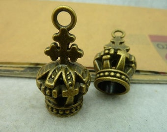 5pcs 18*18*38mm antique bronze Crown charms pendant C3974