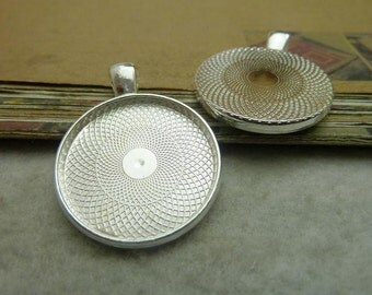 10pcs 25mm silver cabochon pendant settings C7361