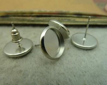 10pcs 12mm White K cabochon earrings settings C4503
