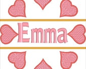 Split heart embroidery, embroidery file, digitized embroidery file, download file, Heart embroidery, Split embroidery