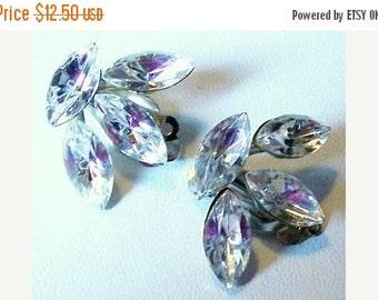 "Rhinestone Earrings Marquise Stones Clip On Style Silver Metal Designer Jewelry 1 1/8""Vintage"