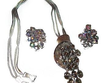 Waterfall Necklace Earring Set Aurora Borealis & Smoke Rhinestones Silver Metal Vintage