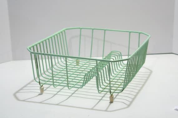 Vintage Aqua Beach Glass Mint Green Sea Glass Shabby Dish Rack Farmhouse Kitchen Drying Rack Cottage