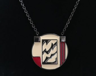 Modernist Abstract Enamel Monet Necklace