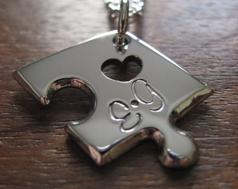 Puzzle Pendant Necklace with two Stamped Initials 3