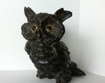 SALE Take 15% Off, Black Ceramic Owl, USA, Vintage 1960's, Large Pottery Owl