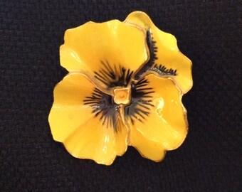Mid-Century Yellow Enameled Pansy Pin