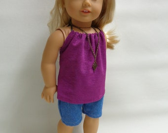 18 inch American Girl Doll Clothes - Halter top and  denim shorts  Summer Outfit