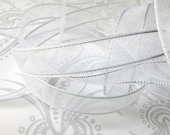 White Silver Edged -- Organza Ribbon 3/8 -- 4 yards -- 9.5mm